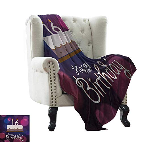 LsWOW Plush Throw Blanket 16th Birthday,Cake with Candle Anniversary of Birth Best Wishes Young Image,Fuchsia and Dark Blue Blanket for Sofa Couch TV Bed All Season 35