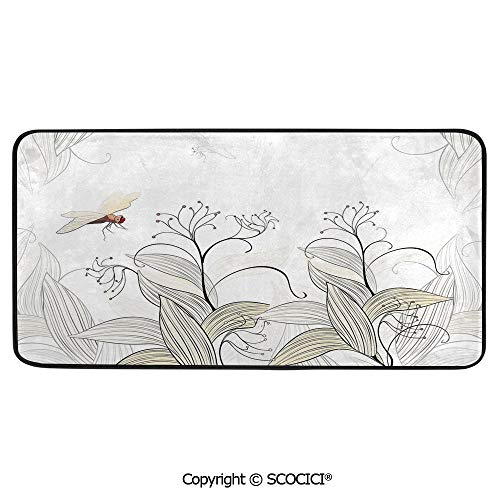 Rectangle Rugs for Bedside Fall Safety, Picnic, Art Project, Play Time, Crafts, Large Protective Mat, Thick Carpet,Dragonfly,Curled Nature Branches Leaves Lake Coast Abstract Floral,39