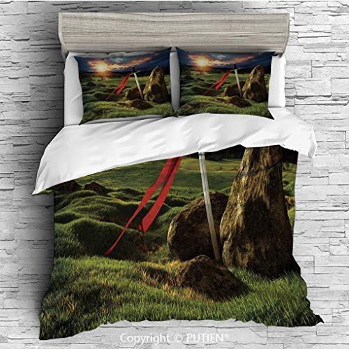 TWIN Size Cute 3 Piece Duvet Cover Sets Bedding Set Collection [ King,Arthur Camelot Legend Myth in England Ireland Fields Invincible Sword Image,Green Blue and Red ] Comforter Cover Set for Kids Girl (Camelot Twin Bed)