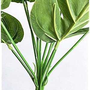 15.5 inch 2 branches Tropical Leaves Artificial Simulation Palm Monstera Fake Plant Decorative Flower arrangement Greenery Plants 9 leaves per branch for wedding Home Kitchen Party Supplies 3