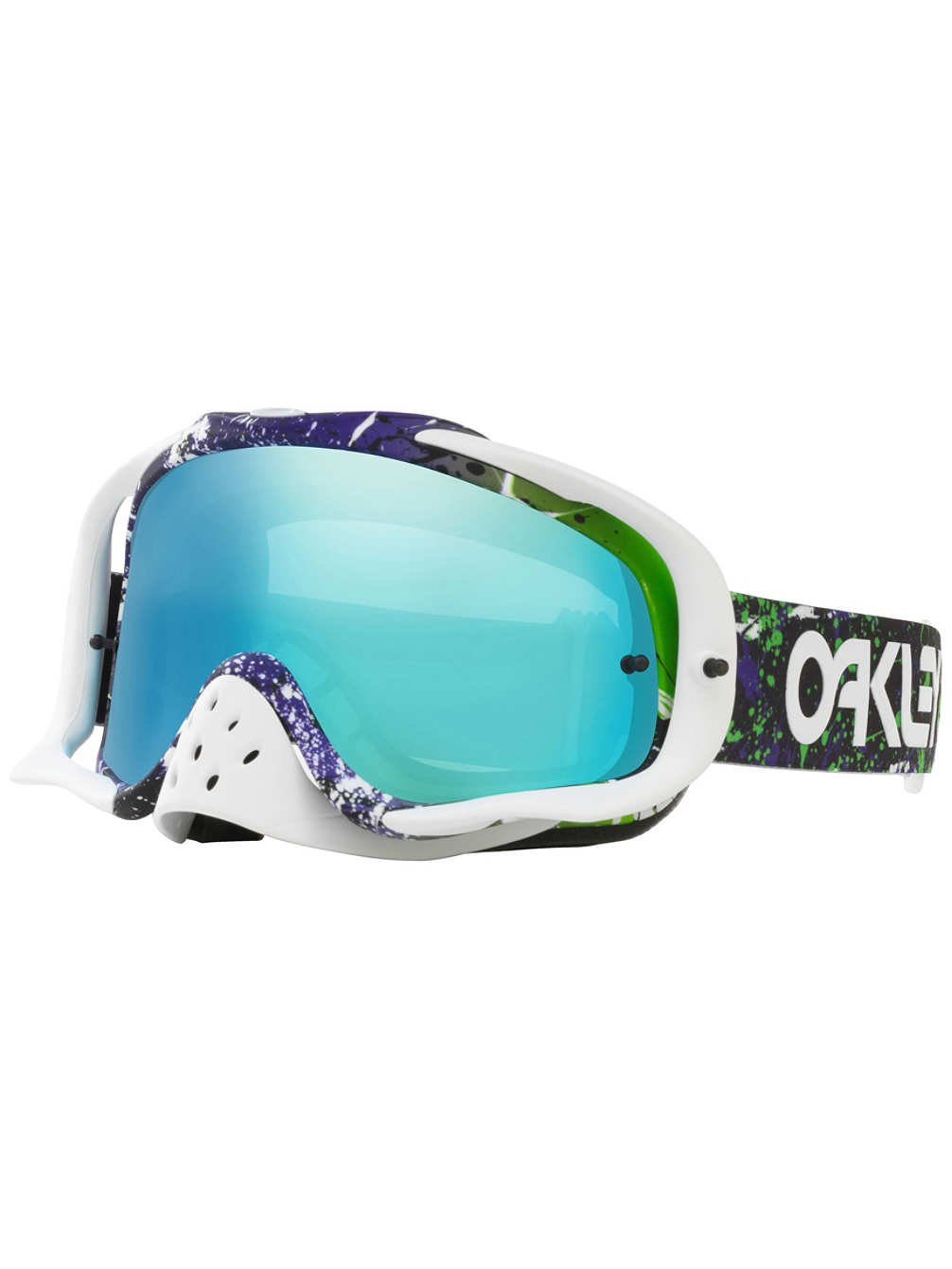 Oakley Crowbar MX FP Splatter Men's Dirt Off-Road Motorcycle Goggles Eyewear - Green Purple/Violet + Clear / One Size Fits All