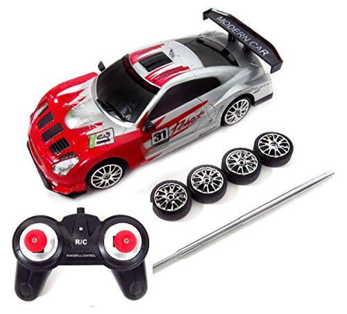 PowerTRC High Speed Drift King Remote Control Race Car | RC Drifting Race Car | 1:24 Scale | with Working Lights and 2 Sets of Tires (Red)