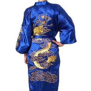 Amazon Com Chinese Men S Silk Satin Embroider Kimono Robe