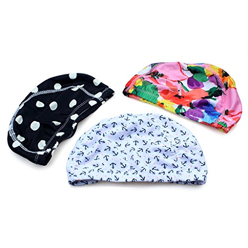 3pcs Mix Colors designed Lycra swimming Cap hat Bathing cap swimming - Caps Swim Nylon
