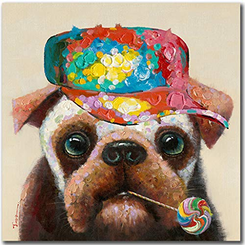 Floopy's Wall décor - Dog Portrait Painting Printing On Canvas Lollipop Dog Colorful and Fun Hand Embellished Pet Modern Art for Living Room Bedroom Office Children Wall Decoration 28