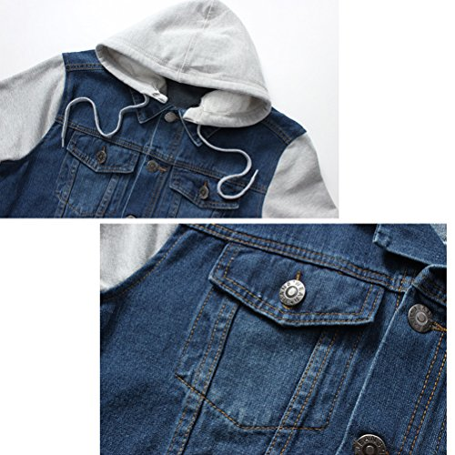 Washed Jacket Laixing Hoode Denim Mens Hat Casuale Long Coat Outerwear Sleeve Detachable qRqTYw