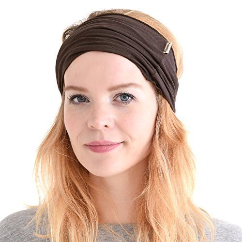 CHARM mens Elastic Bandana Headband Japanese Long Hair Dreads Head wrap Brown