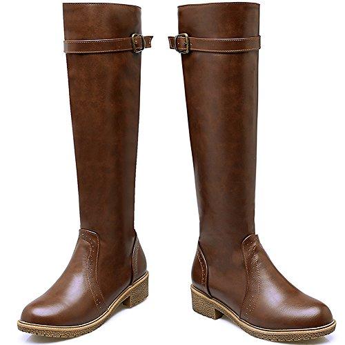 Stivali Stivali da da da BIGTREE alti equitazione Confortevole Di Marrone Donna Inverno Autunno Cinghia Casual ginocchio del Stivali Piatto Cerniera wwxSHnP1q