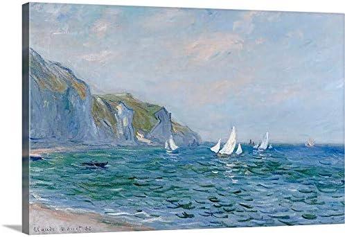 Cliffs and Sailboats at Pourville Canvas Wall Art Print