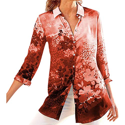 Dainzuy Women's Blouse Ladies Sexy Rendering Floral Print Stand Long Sleeve Button Pullover Shirts Tops Tee