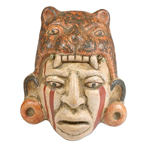NOVICA Decorative Maya Ceramic Mask, Earthtone, 'Maya Jaguar Priest'