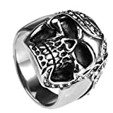 Bishilin Jewelry Men's Rings Stainless Steel Skull with White Round Cubic Zirconia Rings Silver Size 13