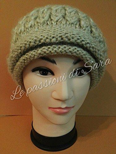elegante ottima vestibilità grande selezione Cappello da donna ai ferri color crema lurex: Amazon.it ...