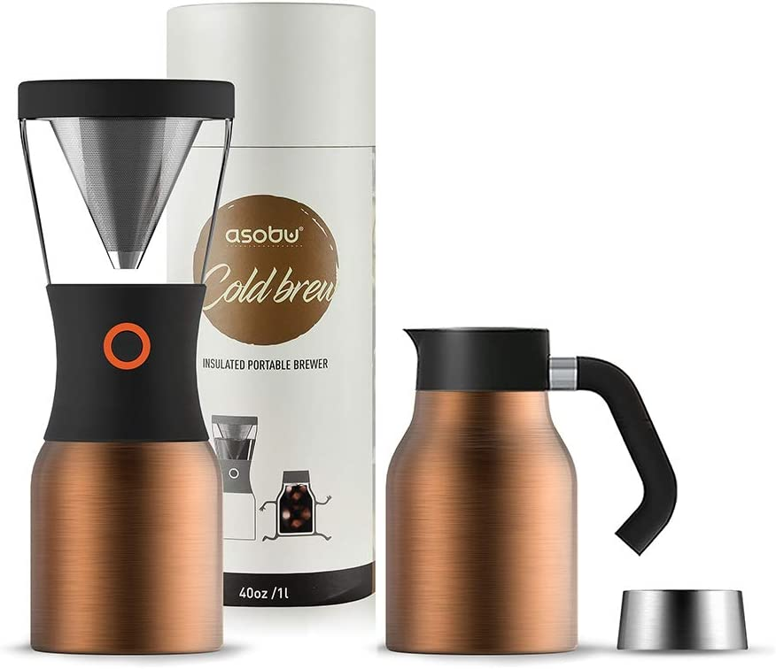 Asobu Coldbrew Portable Cold Brew Coffee Maker With a Vacuum Insulated Stainless Steel 18/8 Carafe with Pouring Handle (Copper)