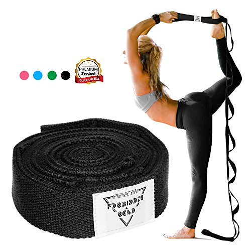 Forbidden Road Stretch Strap with Multi- Loop Exercise Strap For Physical Therapy Yoga Dance Pilates Greater Flexibility and Fitness Workout Deepen Green/Black/Blue/Purple