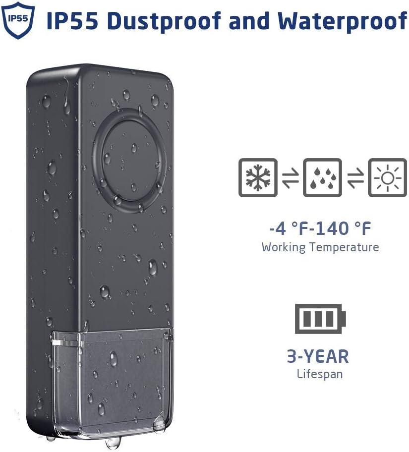 volumen de 4 niveles y luz LED azul Umarie Timbre inal/ámbrico gris bot/ón impermeable IP65 2 enchufes el mejor timbre inal/ámbrico con alcance de 1000 pies//300 m kit de timbre impermeable para puerta 52 timones