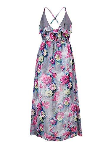 Strap Floral Asymmetrical Women Beach Floral Backless Dress Waist High 55r8wgq
