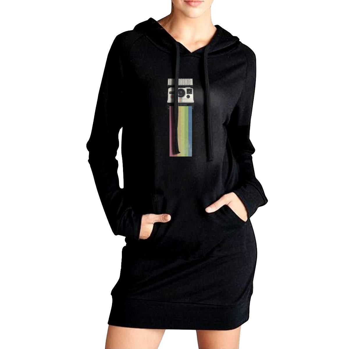 Northern Nebula Camera Rainbow Womens Long Sleeve Hoodie Tunic Dress Solid Pullover Loose Sweatshirt Long Tops