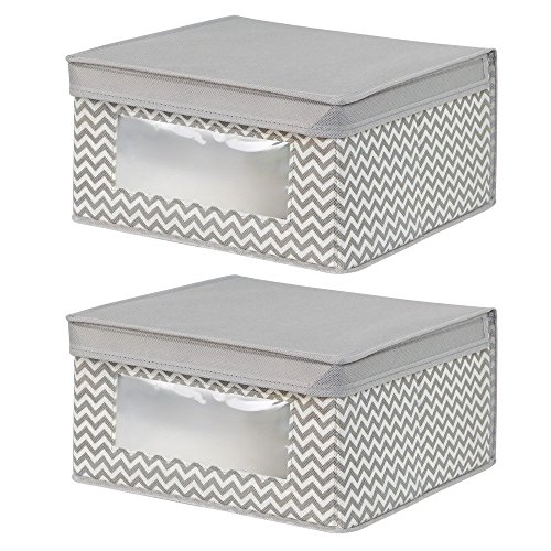 InterDesign Chevron Fabric Closet Organizer Box – Soft Storage Bin for Clothing, Shoes, Handbags, Linen - Medium, Taupe/Natural, Set of 2