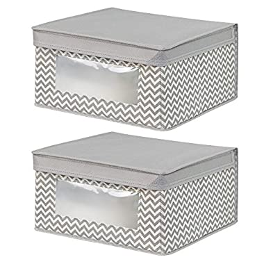 InterDesign Chevron Fabric Closet/Dresser Drawer Storage Organizer, Box for Clothing, Shoes, Handbags, Jeans - Set of 2, Medium, Taupe/Natural