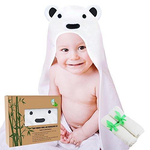 cc6142653d BabyDew - Baby Hooded Towel and Washcloth Set – Ultra Soft 100% Cotton  Bathrobe – Unisex Bear Theme – Bath ...