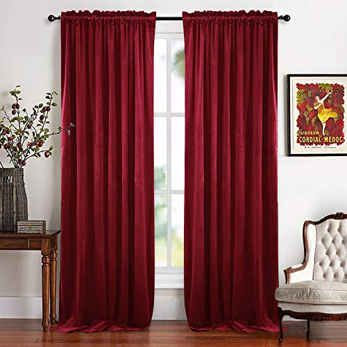 RYB HOME Nursery Room Darkening Curtains Velvet, Gift for Home Theatre Smooth Velour Casual Texture Window Covering Soundproof Prevent Sunlight & Draft for Bedroom, 52 x 96 inch, Ruby Red, 2 Panels (Velour Curtains Red)