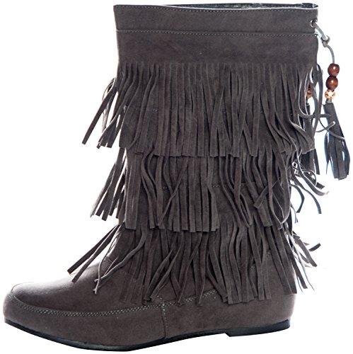 La Bella Fashion West Blvd Faux Women's Fringed Tassel Faux Blvd Suede Moccasin Boots Gray 6 B00IB6G75W Shoes 964ac5