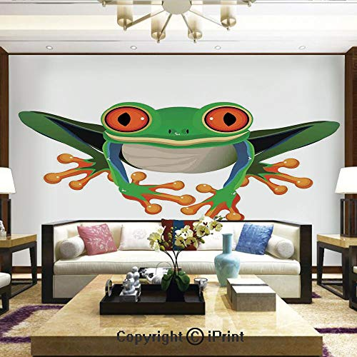 Lionpapa_mural Removable Wall Mural Ideal to Decorate Your Dining Room,Cute Illustration of Big Red Eyed Tree Frog on Simple Background Kids Cartoon Print,Home Decor - 100x144 inches (Furniture Stores Tucson)