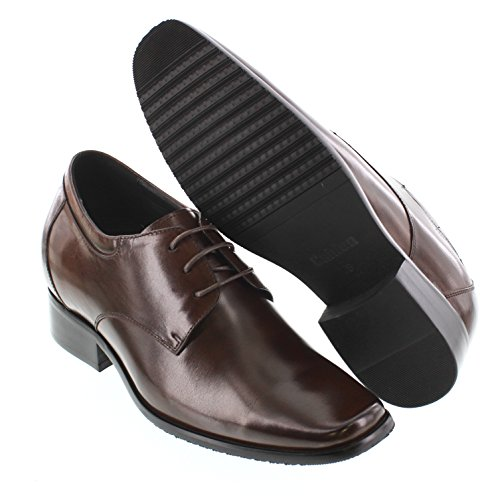 Calden K56551-3,2 Inches Taller - Height Increasing Elevator Shoes - Dark Coffee Brown Lace-up Dress Shoes