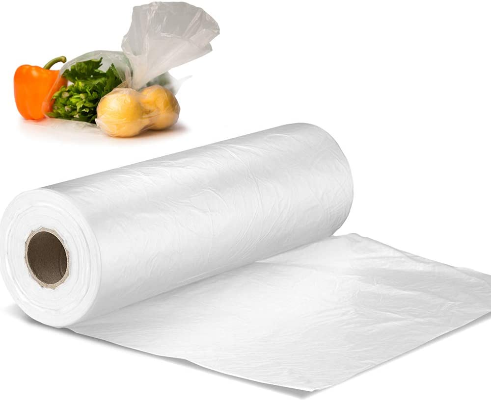 """12"""" X 20"""" Plastic Produce Bag on a Roll, Bread and Grocery Clear Bag, 350 Bags - 1 Roll"""