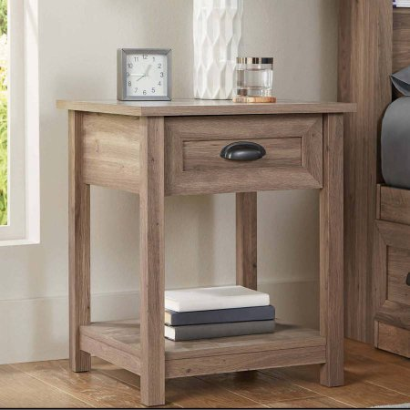 Better Homes and Gardens Lafayette Night Stand, Washed Oak Finish l Open Shelf Provides Additional Storage from Better Homes and Gardens