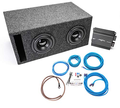 """Skar Audio Dual 6.5"""" 800 Watt Complete Subwoofer Bass Package - Subwoofers Loaded in Vented Box w/Amplifier - Charcoal"""