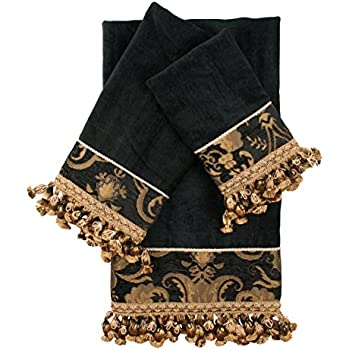 Sherry Kline 3 Piece China Art Decorative Towel Set, Black