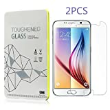 Leesentec (2-pack) S6 Tempered Glass Screen Protector for Samsung Galaxy S6 [9H Tempered Glass Technology] Scratch Resistant 2.5D 0.33mm ultra thin Material Durable Tough Bubble Free [HD Protection]