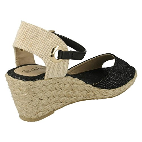 Ladies Spot On Low Wedge Open Toe Sandals Black w6kWH