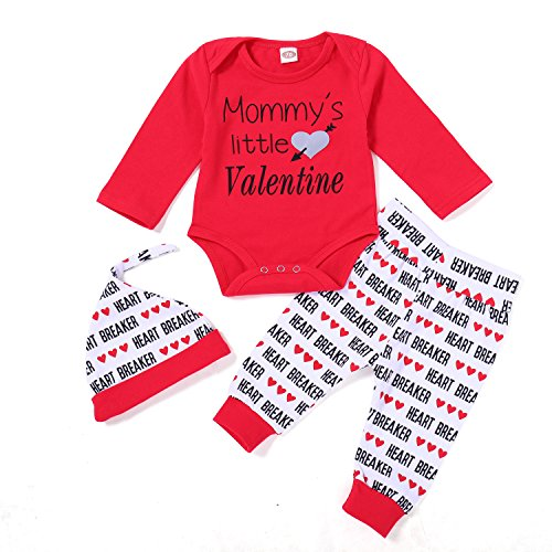 Ant-Kinds Infant Newborn Baby Boy Valentine's Day Outfits Romper+Pants+Hat Clothes Set (0-3M, Red) -
