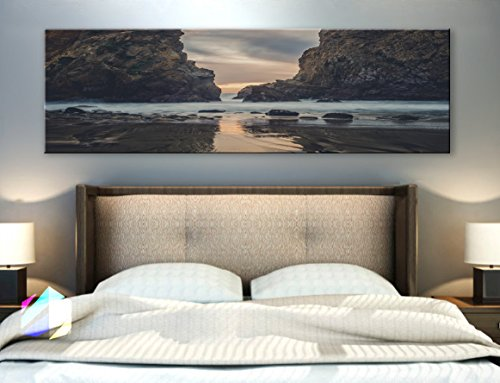 Original By Boxcolors Single Panel 3 Size Options Art Canvas Print Lake Landscape Mountains Beach Nature Panoramic Reflection Rocky Scenic Sunset Wall Home Decor  Framed 1 5  Depth