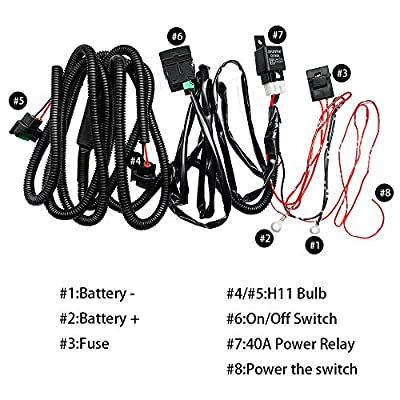 HUIQIAODS H11 880 881 H9 Fog Light Lamp Wiring Harness Socket Wire Connector With 40A Relay & ON/OFF Switch Kits Fit for LED Work Lamp Driving Lights Etc (More than 2014 Honda): Automotive
