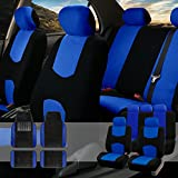 FH GROUP FH-FB050115 + F14407 Full Set Flat Cloth Car Seat Covers with Premium Carpet Floor Mats