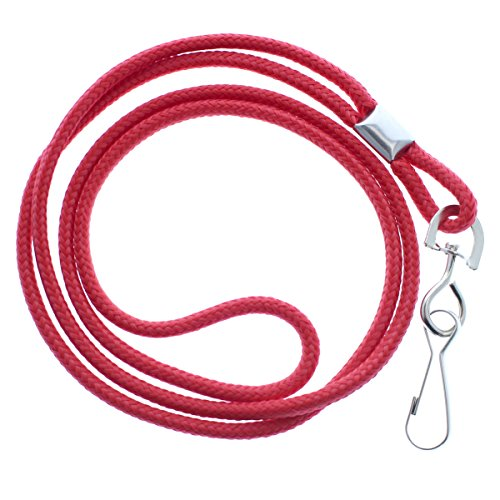- 25 Pack - Premium Round ID Badge Neck Lanyards for Card Holders and Name Tags - 36 in Non-Breakaway Heavy Duty Cord & Secure Metal Swivel J Hook Clip by Specialist ID (Red)