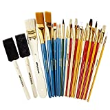 Office Products : Artlicious - 25 All Purpose Paint Brush Value Pack - Great with Acrylic, Oil, Watercolor, Gouache