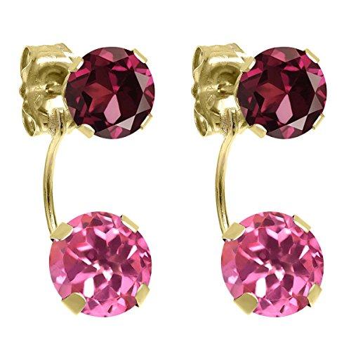 & Earrings Pink Garnet Topaz (3.28 Ct Round Pink Mystic Topaz Red Rhodolite Garnet 14K Yellow Gold Earrings)
