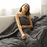 CuteKing Cool Weighted Gravity Heavy Blanket 20lbs 60''x80'' Queen or Full Size for Adult Women Men Summer Natural Deep Sleep, Reduce Stress, Anxiety, Autism (Dark Grey)