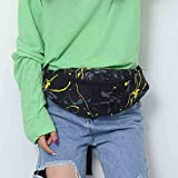 Waist Pack Bags, Inkach Unisex Print Belt Fanny Packs Womens Mens Cross-Body Shoulder Chest Bag Fitness Running Gym Bag (One Size, Black)