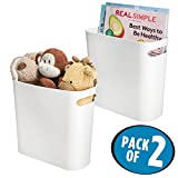 mDesign Plastic Storage Organizer, Holder Bin Box with Handles - for Cube Furniture Shelving Organization for Closet, Kid's Bedroom, Bathroom, Home Office - 10'' x 5'' x 10.75'' high - 2 Pack, White