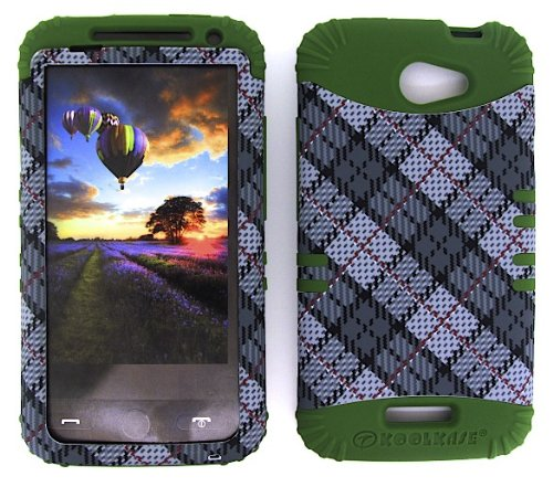 HTC ONE X CASE WHITE GRAY PLAID HEAVY DUTY HIGH IMPACT HYBRID COVER ARMY GREEN SILICONE SKIN - Green Oem Faceplate