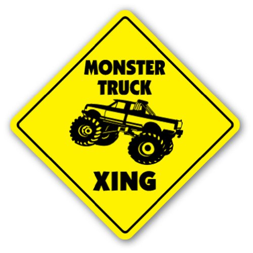 MONSTER TRUCK CROSSING Sign xing gift novelty jump race cage tires big (Monster Sign)