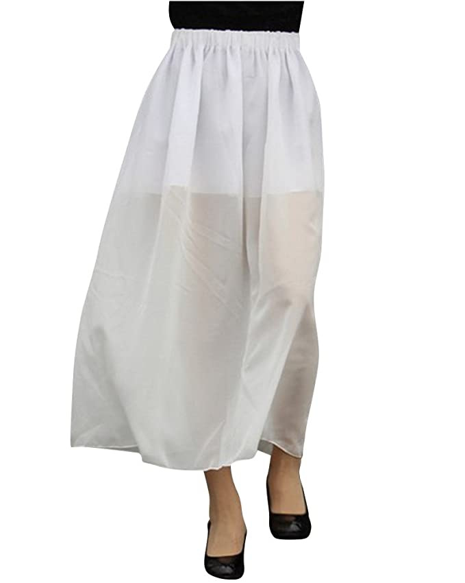 Yonglan Mujeres Gasa Largo Falda Transparente Color Sólido Maxi ...