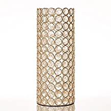 VINCIGANT Gold Decorative Crystal Cylinder Vase for Home Decor Coffee Table Centerpieces Wedding Decoration Fathers Day Gifts