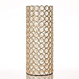 VINCIGANT Gold Crystal Cylinder Vase for Holiday House Decor Table Centerpieces,Gifts for Wedding Anniversary Christmas,Led Copper Wire String Light Included